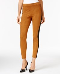 Ny Collection Ponte Inset Faux Suede Leggings Mocha Black