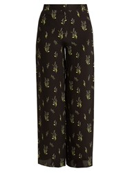 Rockins Skully Of The Valley Print Wide Leg Silk Trousers Black Print