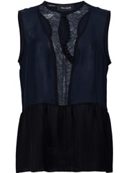 Yigal Azrouel 'Lace Placket' Tank Blue
