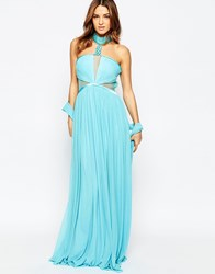 Forever Unique Aliyah Halterneck Maxi Dress Soft Turquoise