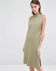 Selected Coda High Neck Shift Dress Aloe