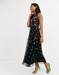 Frock And Frill Sleeveless Embroidered Midi Dress Black