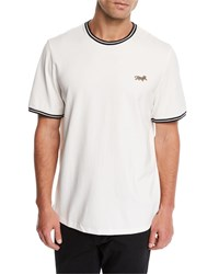 Ovadia And Sons Leopard Applique Pique T Shirt White