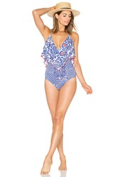 Luli Fama Ruffle One Piece Blue