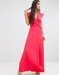 Oh My Love Wrap Maxi Dress Coral Pink