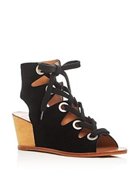 Dolce Vita Lei Caged Lace Up Wedge Sandals Black