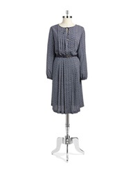 Jones New York Pleated Polka Dot Dress Navy Multi