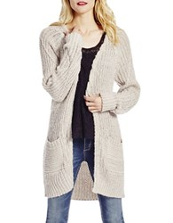 Jessica Simpson Moonlight Long Sleeve Open Front Cardigan Oatmeal