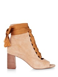 Chloe Harper Open Toe Lace Up Boots Neutral