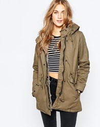 Pull And Bear Pullandbear Khaki Parka With Faux Fur Hood Orange