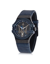 Maserati Potenza Blue Stainless Steel Men's Watch W Croco Embossed Leather Band
