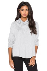Central Park West Patagonia Fringe Cowl Neck Sweater Gray