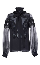 Elie Saab Crepe And Tulle Necktie Blouse Black