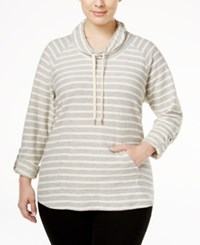 Styleandco. Style Co. Plus Size Striped Cowl Neck Top Only At Macy's New Titanium