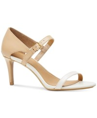 Calvin Klein Women's Luigiana Two Tone Strappy Dress Sandals Women's Shoes Cocoon Soft White
