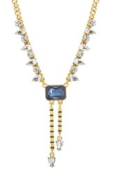 Steve Madden Curb Chain Crystal Pendant Y Necklace Gold