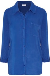 Splendid Stretch Jersey Paneled Voile Shirt Blue