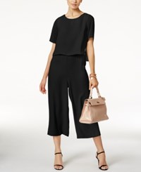 Alfani Cropped Popover Jumpsuit Only At Macy's Deep Black