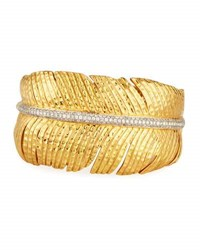 Michael Aram Diamond Feather Cuff Bracelet In 18K Gold