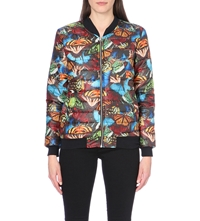 Jaded London Butterfly Print Quilted Bomber Jacket