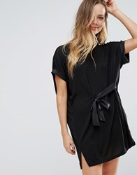Wal G Tie Front Tunic Dress Black
