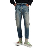Off White C O Virgil Abloh Belted Distressed Low Rise Slim Jeans Blue