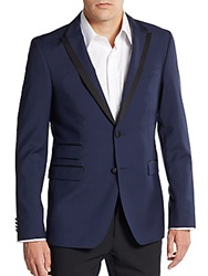Sand Slim Fit Wool And Mohair Tuxedo Jacket Navy