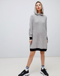 Noisy May Slogan Knitted Hoodie Dress Lgm W Slay On Back Grey