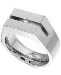 Macy's Diamond Accent Ring In Titanium Stainless Steel