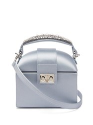 Rodo Trunk Crystal Embellished Satin Cross Body Bag Light Blue