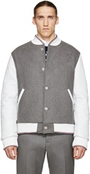 Thom Browne Grey Wool And Leather Bomber Jacket