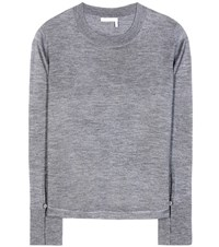 Chloe Wool Silk And Cashmere Top Grey