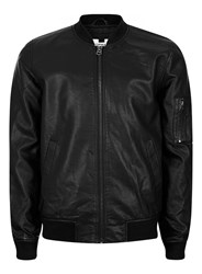 Topman Black Faux Leather Bomber Jacket