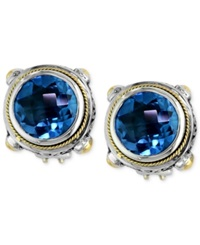 Effy Collection Balissima By Effy Blue Topaz Round Stud Earrings 7 5 8 Ct. T.W. In 18K Gold And Sterling Silver