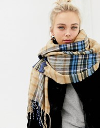 New Look Camel And Blue Check Scarf Brown
