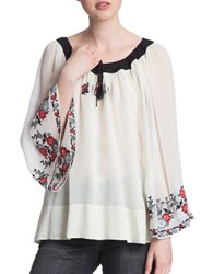 Plenty By Tracy Reese Embroidered Peasant Blouse Custard
