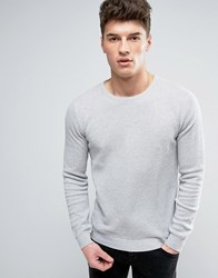 Solid Textured Knit Jumper In Grey Grey