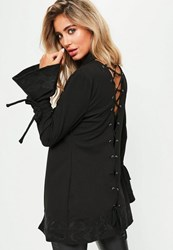 Missguided Black Lace Up Back Embroidered Detail Blazer