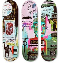 The Skateroom Jean Michel Basquiat Set Of Three Printed Wooden Skateboards Green