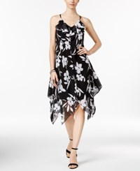 Inc International Concepts Petite Floral Print Handkerchief Hem Dress Only At Macy's Black Whi