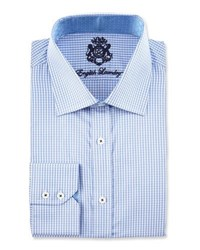 English Laundry Checked Long Sleeve Dress Shirt Blue