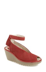 Fly London Women's 'Yala' Perforated Leather Sandal Red
