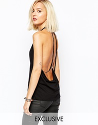 Religion Halter Neck Vest With Beaded Back Detail Black