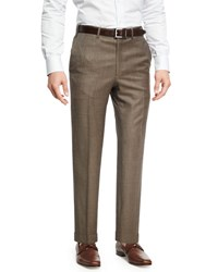 Brioni Sharkskin Wool Flat Front Trousers Brown