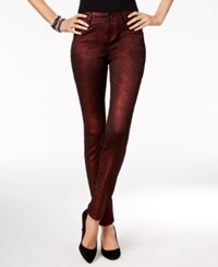 Inc International Concepts Metallic Curvy Fit Skinny Jeans Only At Macy's Wine Berry