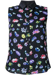 Loveless Floral Sleeveless Blouse Women Polyester 34 Blue