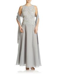 J Kara Beaded Chiffon Gown And Shawl Silver White