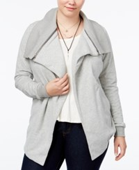 Whitespace Trendy Plus Size Fleece Cardigan Jacket Medium Grey