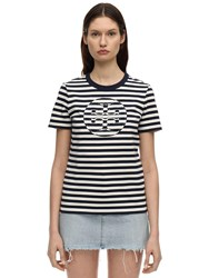 Tory Burch Logo Striped Cotton Jersey T Shirt Blue