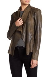 Bnci By Blanc Noir Vegan Suede Drape Jacket Green